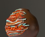 Adorned Vessel in Turquoise and Orange_Ceramic, wire, and beads_8x6x6_2015